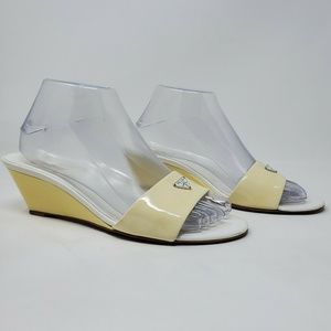 Vintage AUTHENTIC Prada Womens White Wedge Heels
